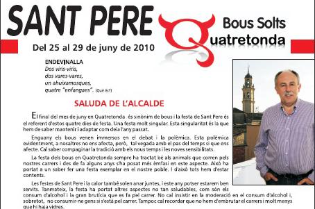 Bous Quatretonda 2010 : Revista » Sant Pere, Bous Solts «