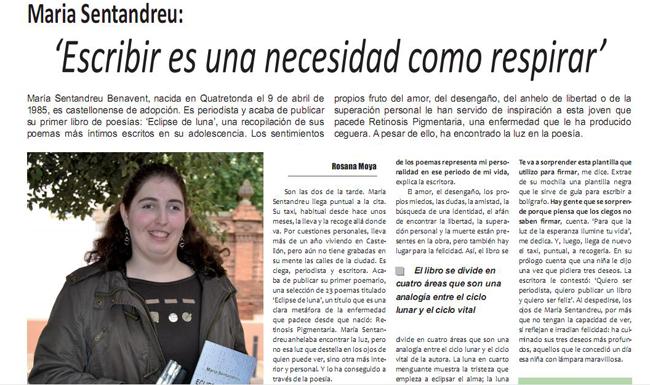 Maria Sentandreu : » Escribir es una necesidad como respirar «