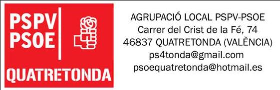 PSOE-QUATRETONDA : PRESENTACIÓ CANDIDATURA