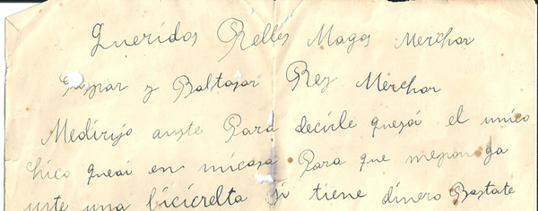 carta als reis d´orient datada al 1929