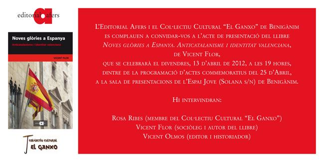 invitació col·lectiu cultural «el ganxo» de benigànim