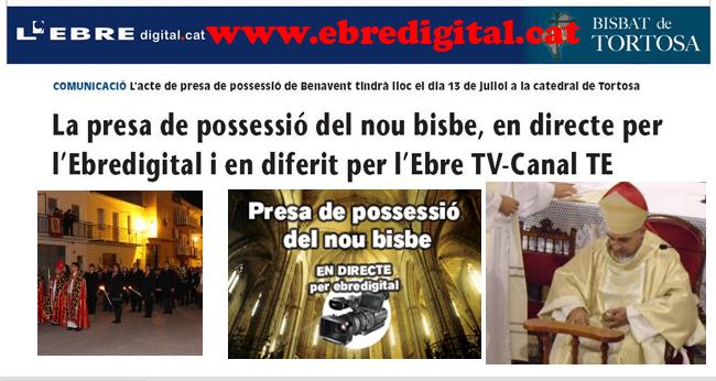 EN DIRECTE PER INTERNET, LA PRESA DE POSSESSIÓ DEL BISBE BENAVENT