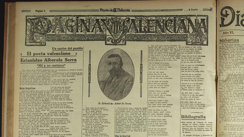ESTANISLAU ALBEROLA, DOCUMENTS PER A UN ESTUDI (VI) : «un poeta del pueblo»