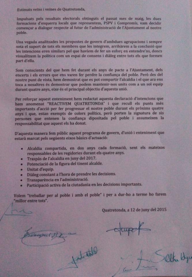 EL PACTE 2015 : COMPROMÍS-PSOE