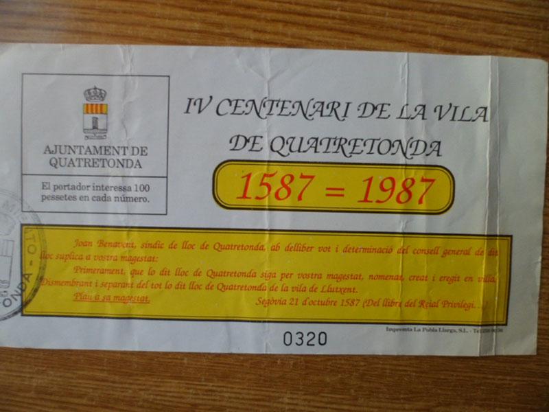 PAPELES SUELTOS DE ANIVERSARIOS DE LA VILA DE QUATRETONDA : 1 DE 2 —-«Aquella loteria de Diciembre de 1987….»