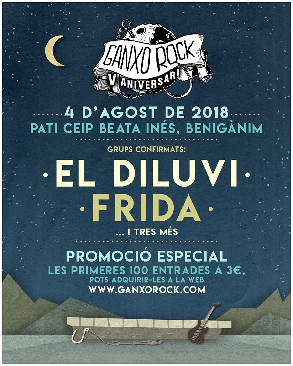 «EL DILUVI I FRIDA» EN EL 5é ANIVERSARI DE GANXOROCK 2018