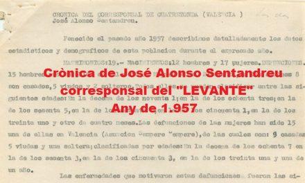 CRÒNICA DE JOSÉ ALONSO SENTANDREU DE l'ANY 1.957
