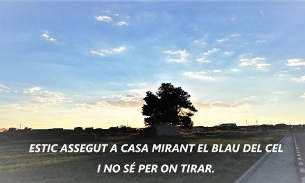 ESTIC ASSEGUT A CASA MIRANT EL BLAU DEL CEL I NO SÉ PER ON TIRAR